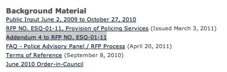 Screen grab from Esquimalt web site (August 7, 2012)
